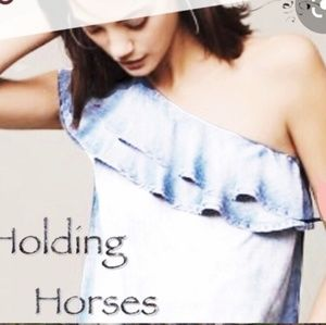 Holding Horses Chambray one shoulder dress